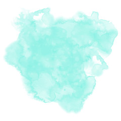 Neo mint watercolor background. Abstract vector paint splash, stain isolated on white backdrop. Aquarelle colorful texture. Watercolour neo-mint backdrop with free copy space.