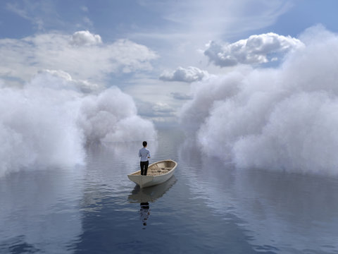 woman is sailing in a boat through the clouds