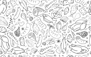Vector background with fish, cheese, sausages, chicken, meat. Useful for packaging, menu design and interior decoration. Hand drawn doodles. Seamless pattern of food elements on white background.