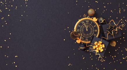 Christmas shiny black background, New Year, black box, clock,gold bow, flying confetti, clock, sparkles, tinsel, balls, heart, toys, ball, serpentine, garland illumination, 3D rendering, Fototapete