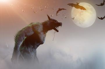 werewolf on Halloween background 3D render