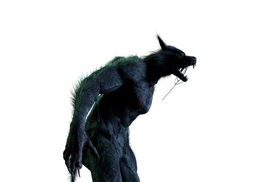 werewolf on white background 3D render