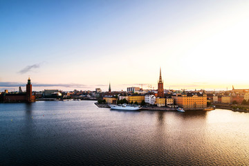 Wall Mural - Aerial view of Gamla Stan in Stockholm, Sweden with landmarks like Riddarholm Church