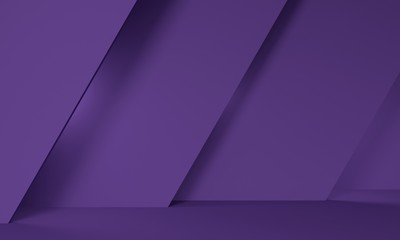 Geometric purple abstract background with an inclined wall. Backdrop design for product promotion. 3d rendering
