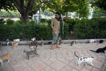 Iranian bodybuilder Sharareh Nobahari looks at cats at a park in Tehran