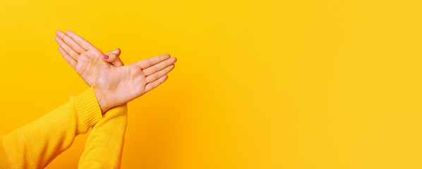 Hands gesture bird over yellow background , panoramic mock up image
