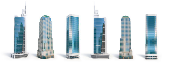 Set of different skyscraper buildings isolated on white. Fotobehang