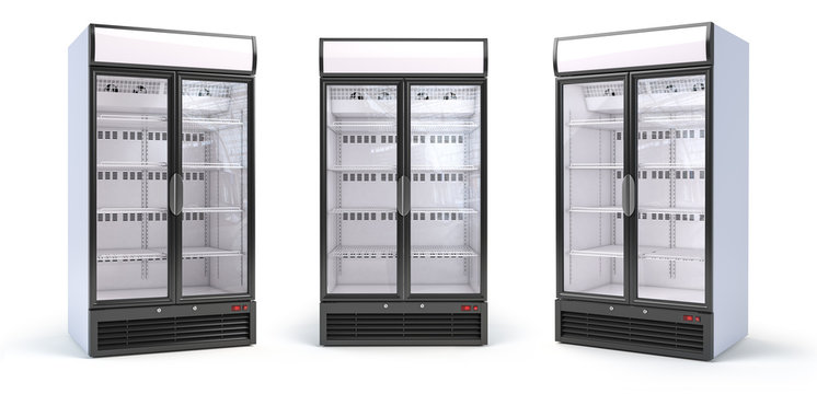 Set of empty showcase refrigerators in the grocery shop. Fridge with glass door isolated on white.