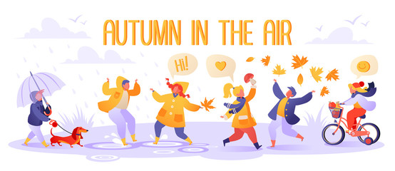 Cute autumn illustration with happy kids playing outdoors. Autumn season. Boy walks with dog. Children in raincoats and rubber boots jump in puddles. Girl found mushroom, boy throws up foliage.