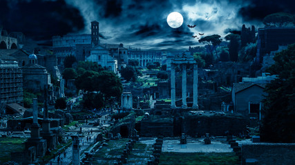 Mystery creepy view of Roman Forum at night, Rome, Italy. Scary gloomy panorama of ruins of old houses with bats and zombies. Spooky dark scene in full moon for Halloween. Horror and terror concept.