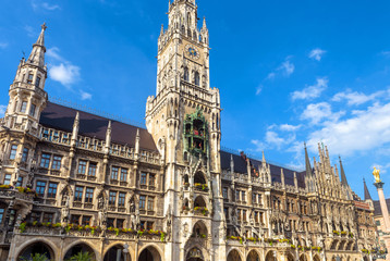 Fototapete - Town Hall or Rathaus on Marienplatz, Munich, Bavaria, Germany. It is a famous landmark of city. Beautiful Gothic building in old Munich. Luxury facade of tourist attraction of Munich center in summer.