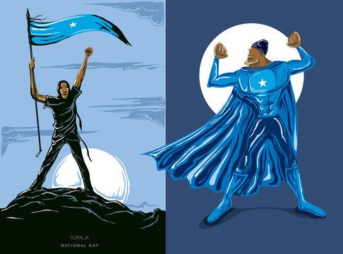 Super Hero with Somalia Flag, Somalian flag and color  --Vector Art--