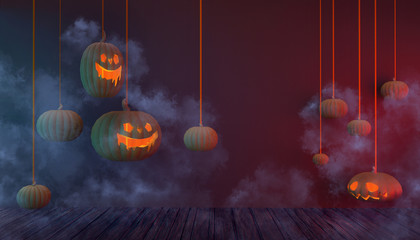 Halloween Background Pumpkins Hanging and  Smoke in Floor Wood on   Purple pastel Display Concept Art - 3d rendering