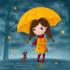 Little girl and dog walk in the rain