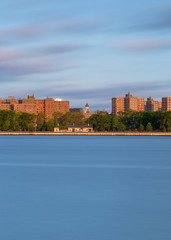View on East village  from East river at sunrise with long exposure