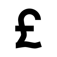 Pound currency sign symbol - black simple, isolated - vector