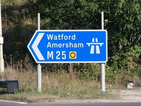 M25 slip road entrance sign at Junction 17 for Watford and Amersham