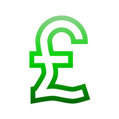 Pound currency sign symbol - green simple gradient outline, isolated - vector