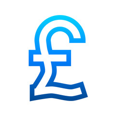 Pound currency sign symbol - blue simple gradient outline, isolated - vector
