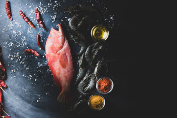Red Snapper raw fish on table top