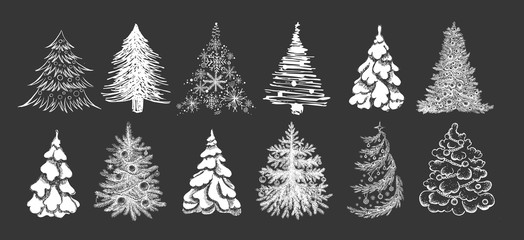 Christmas tree hand drawn illustration