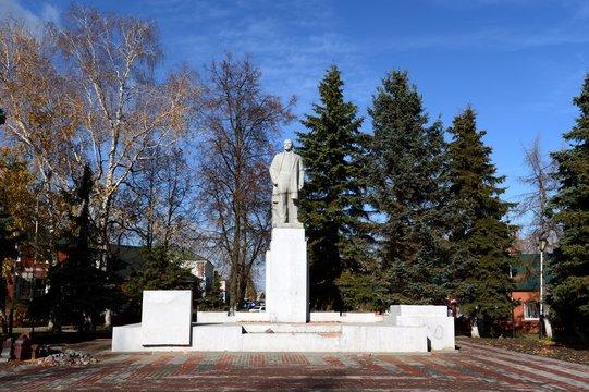 Monument to the Soviet leader Vladimir Lenin in the city of Ryazhsk, Ryazan region