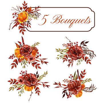 set of watercolor fall floral arrangement