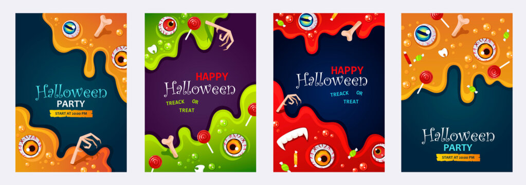 Set of Halloween poster, banner or flyer templates. Slime background. Isolated cards. Flowing witch brew. Cartoon colorful illustration. Candies. EPS 10 vector