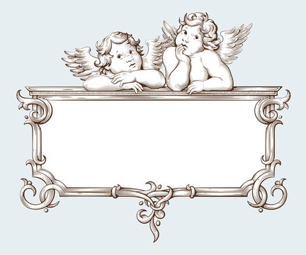 Vintage border frame engraving with Baroque ornament pattern and cupid
