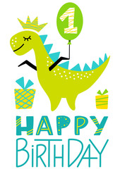 1st Birthday Dino Party Print. First Birthday Dinosaur Boy Clipart. Cute Happy Birthday Colorful Element for Baby. Flat Vector Illustration for Greeting Cards, Clothes.
