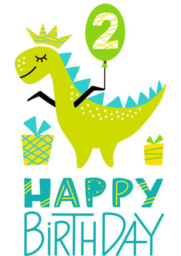 2nd Birthday Dino Prince Party Print. Second Birthday Dinosaur Boy Clipart. Cute Happy Birthday Colorful Element for Toddler.  Hand Drawn Image for Greeting Cards, Clothes. Flat Vector Illustration
