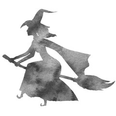 Black silhouette of a witch flying on a broomstick. Watercolor hand drawn illustration