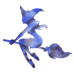 Blue silhouette of a witch flying on a broomstick. Watercolor hand drawn illustration