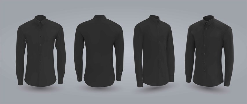 Black male shirt with buttons in front, back and side view, isolated on a gray background. 3D realistic vector illustration, pattern formal or casual shirt