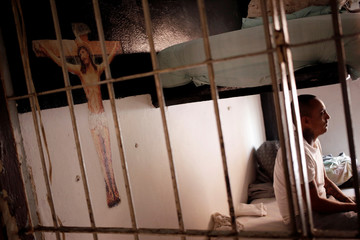 An inmate is pictured inside his cell at Topo Chico prison, which will be closed soon to be used as a public park, during a media tour in Monterrey