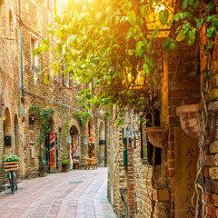 Wall Mural - Alley in old town, San Gimignano, Tuscany, Italy