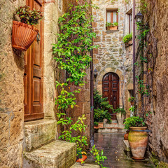 Wall Mural - Alley in old town, Pitigliano, Tuscany, Italy