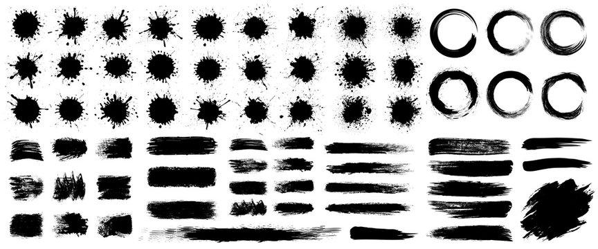 Set different splash, collection brush strokes – stock vector