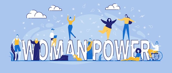 Characters Dance around Woman Power Typography