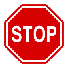 Stop traffic sign, red vector illustration for apps and webdesign