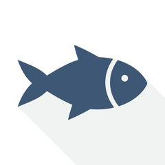 fish vector icon, flat design food illustration for apps and webdesign