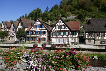 Bavarian town of Schiltach with half timbered houses
