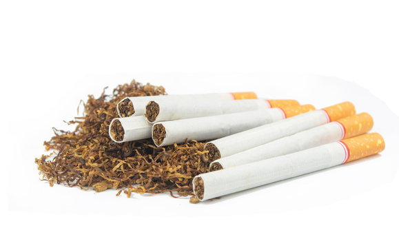 Cigarette and tobacco isolated on white background
