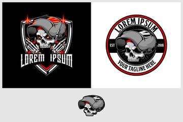 skull with welding helmet and machine vector badge logo template