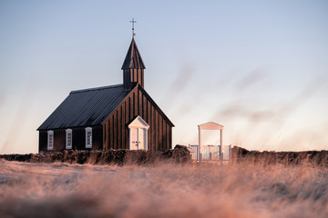 In de dag Noord Europa The Black Church of Budir in Iceland