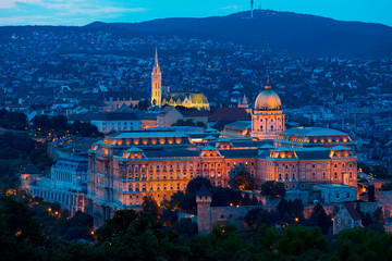 Buda Castle and Mathias Church Budapest at night Hungary