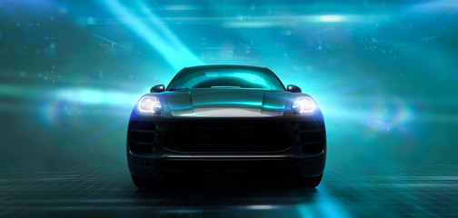 Fotobehang Snelle auto s Front of the modern sports SUV on futuristic background (3D Illustration)