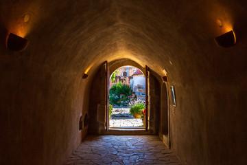 Inside the Monastery of Arkadi (Moní Arkadíou), an Eastern Orthodox monastery located next to Rethymno, North Crete, Greece