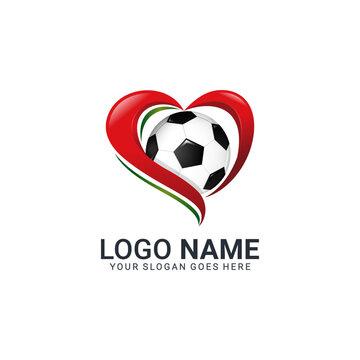 Love socceer logo for club, company or football community. Editable modern logo design