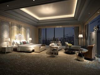 3d render of neo classic hotel room